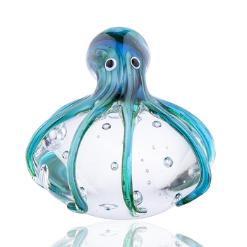 H&D Handmade Colored Octopus Glass Ornament Animal Figurine Handblown Home Decor Figurine Office Desktop Decoration Craft Gift 1