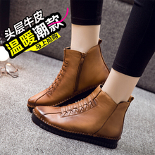 2016 Vintage Style Genuine Leather Women Boots Flat Booties Soft Cowhide Women's Shoes  zipper Boots mujer plus size 40 W004