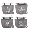 4 Styles Navy Fabric Cotton Pocket Hanging Holder Wall Storage Bags Racks  wall pocket Storage Bags