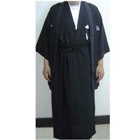 Free Shipping Black Vintage Japanese Men S Warrior Kimono Haori Yukata One Size B0002