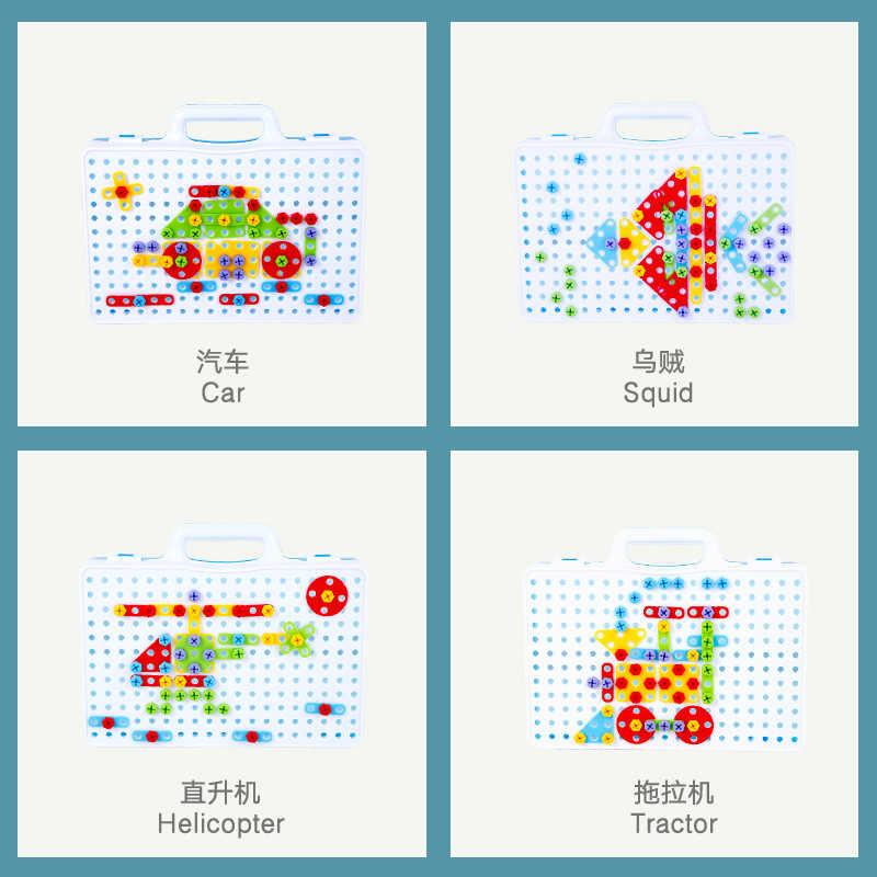 Дети игрушечные дрели творческий электрические сверла шурупы головоломки собраны мозаичный узор здания игрушечные лошадки Ролевые Игры развивающие