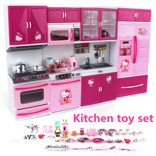 Hello Kitty Kitchen Toys DHL Pretend Play Toy Tableware Large Cooking Simulation Big Kitchen Toy Set Setgeladeira Infantil