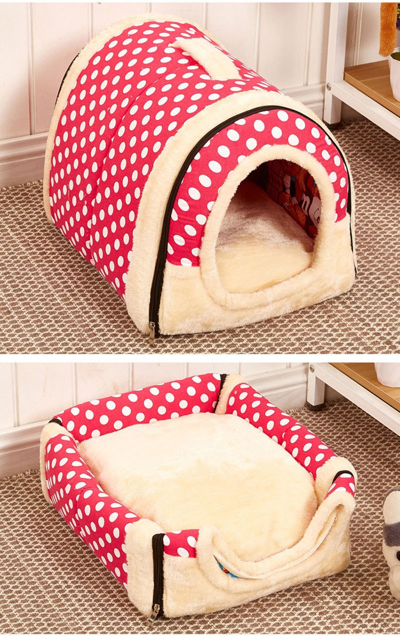 CAWAYI KENNEL Dual Use Soft Plush Dog Bed Dog Kennel Pet House For Puppy Dogs Cat Small Animals Mat U0856 11