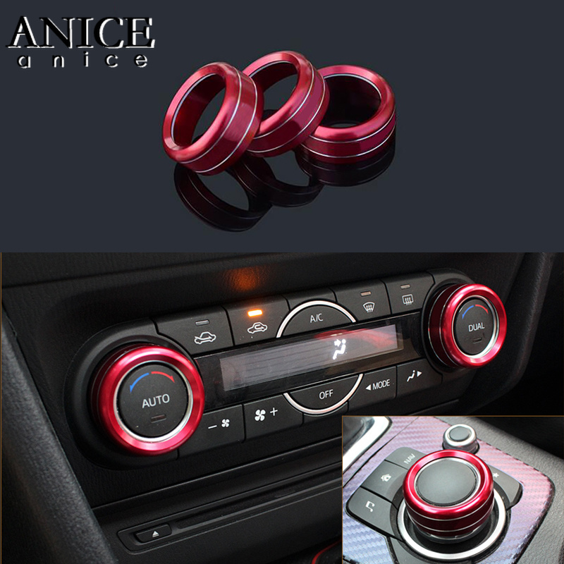 3PC Alloy Air-Condition AC Adjust Buttons Ring Trim Fit For Mazda3 Mazda6 Cx-5/cx-9/CX-8/CX5/CX9/CX8