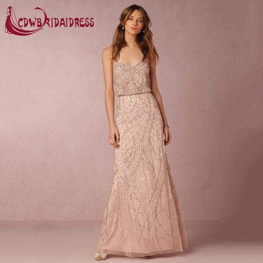 Elegant Bluse Chiffon Long Prom Dresses 2017 With Glitters Rose Gold ...
