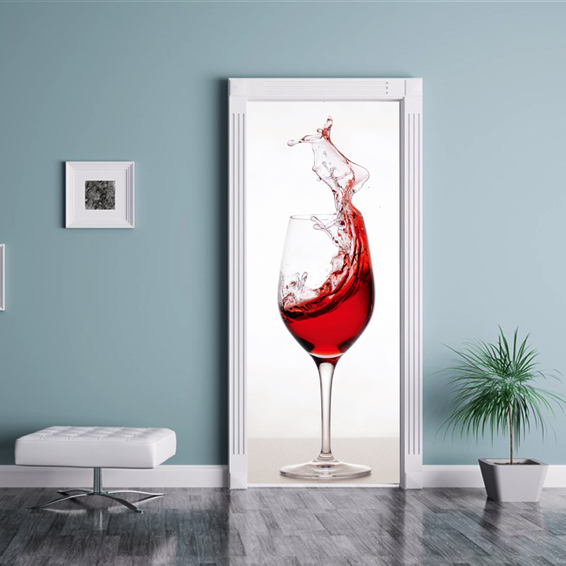Bar Decoration Big Wine Cup Vinyl Door Sticker Self Adhesive Waterproof Door Murals BedroomRefrigerator Wall  Home Decor Poster