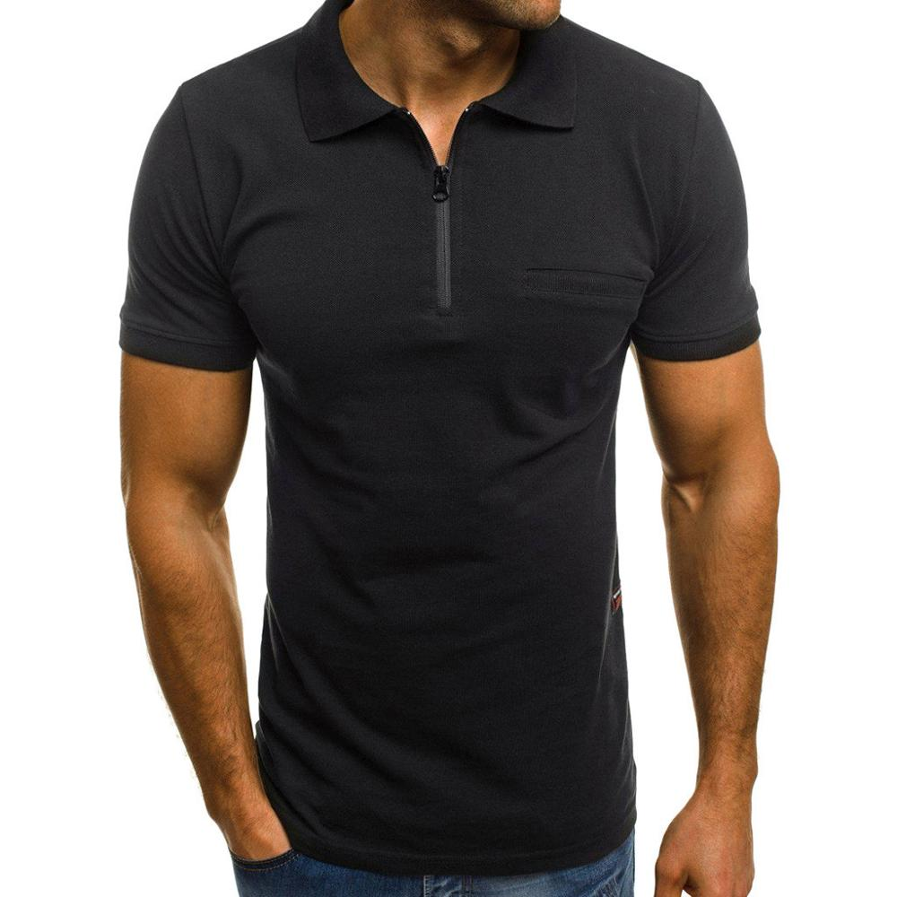 Fashion Personality Men's Casual Slim Short Sleeve Pockets Stand Top Blouse Polo Shirt Men's Short Sleeve Slim Fit formal solid