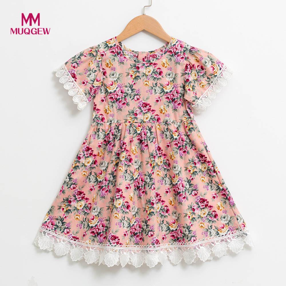 kids dresses for girls Infant Toddle Floral Cartoon Sleeveless Clothes Princess O-Neck Dress robes denfants pour les filles