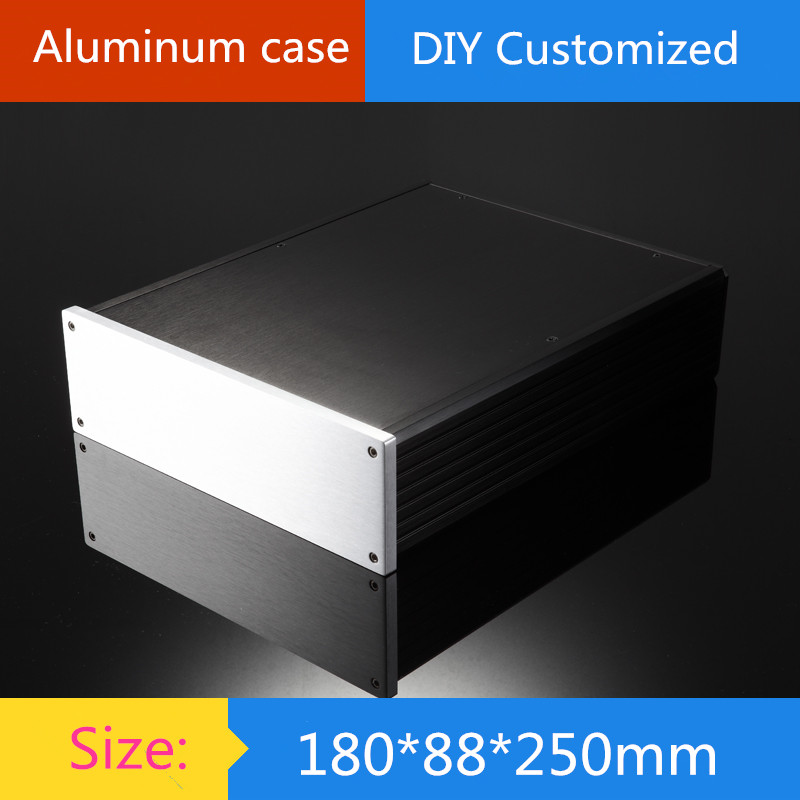 Mini aluminum amplifier chassis/2U amplifier case instrumentation shell/ AMP Enclosure / case / DIY box (180*88*250mm) new high grade aluminum preamplifier diy enclosure amplifier chassis amp box