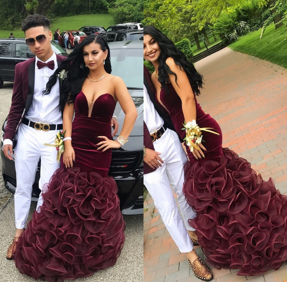 Elegant African Black Girls Velvet Burgundy Mermaid   Prom     Dresses   2019 Sweetheart Floor Length Ruffles Long Evening Party Gowns