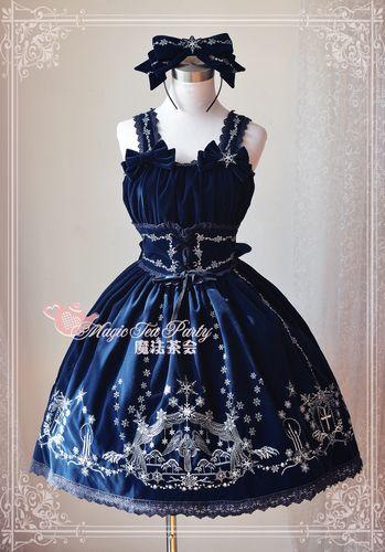 Косплэй Magic Вышивка пункт Лолита платье Для женщин с обручем цвет: черный, Синий Зеленый S/M/L/XL Бесплатная доставка
