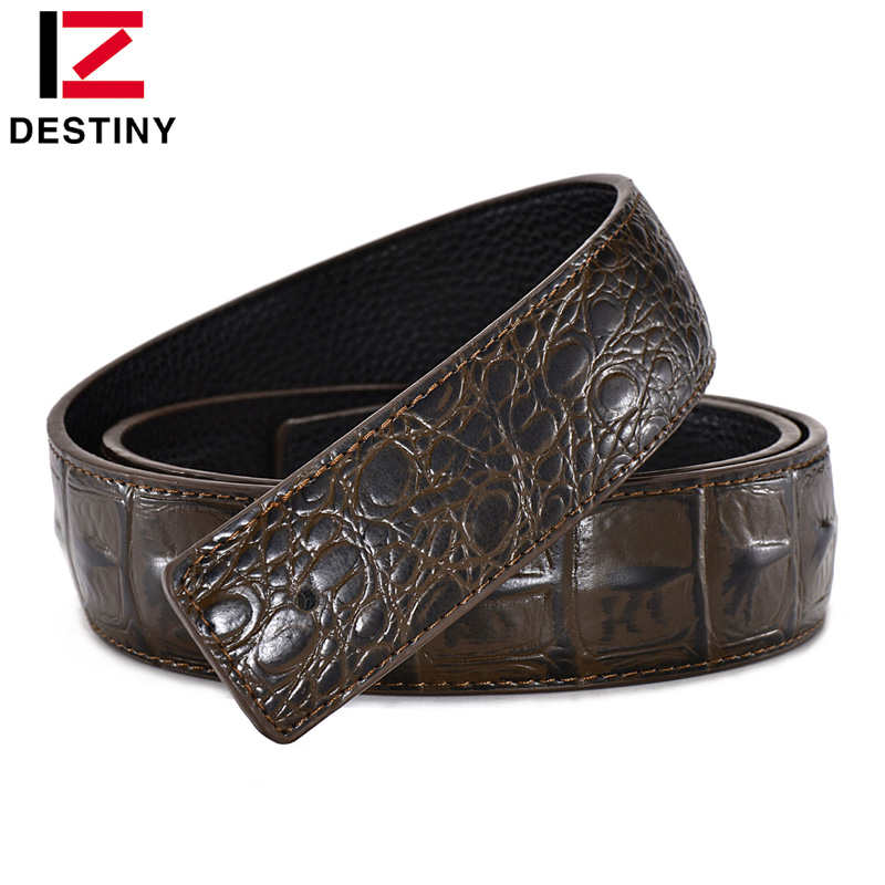 DESTINY Designer Belt Men No Buckle Høy kvalitet Mann Genuine Leather Strap Luksus Belt Without Buckle Wide 3.8cm Ceinture Homme
