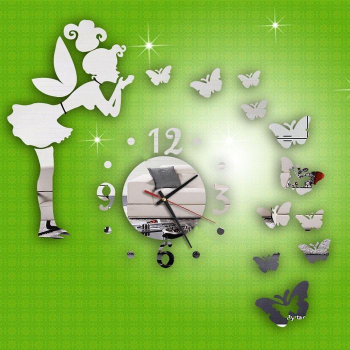 2019 Decoracion Hogar Modern Style Butterfly Fairy DIY Mirror Wall Clock Home Decor Butterfly Angel Mirror DIY Clock Set Sticker