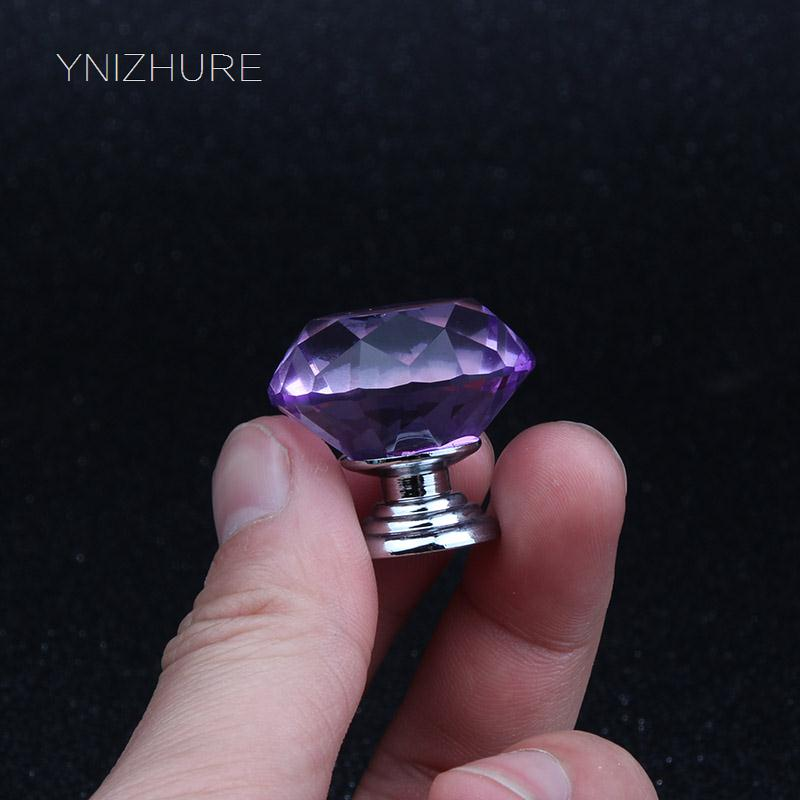 10Pcs 30mm Purple Diamond Shape Crystal Glass Drawer Cabinet Knobs and Pull Handles Kitchen Door Wardrobe Hardware Accessories 10 pcs 30mm diamond shape crystal glass drawer cabinet knobs and pull handles kitchen door wardrobe hardware accessories
