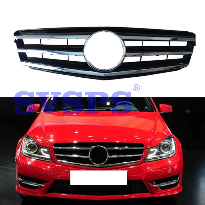 цена на High Quality ABS Front Middle Grille For Mercedes Benz C-Class W204 C63 AMG C350 C250 Fashion Style 2007-2014