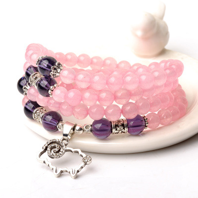 Natural Bazil Rose Crystal Bracelet Pinky Color Lovely Sheep Pendant Charm Bracelet Fashion Style Beautiful Gifts