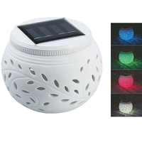 Solar Patio Lights With Color Changing Effects Waterproof Yard Decoration Ceramic Night Table Lamp For Valentine