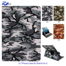 IKASEFU Camouflage Color Painting Rotating 360 PU Leather Cover for Apple iPad Air 2 iPad 6 Silicone Case with Stand Function