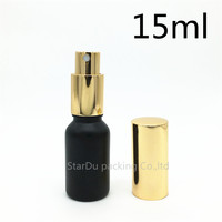 Free Shipping 480pcs 15ml black Frosted glass bottle with gold aluminum sprayer,15cc Essential Oil Spray perfume bottle