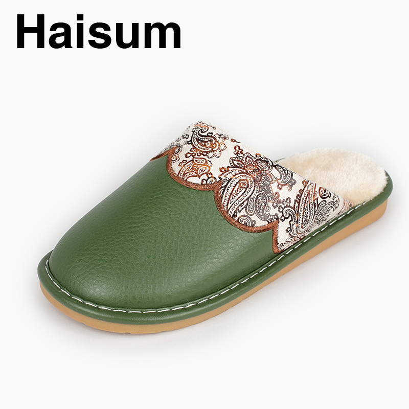 Ladies Slippers Winter Pu Leather Thick With Plush Home Indoor Non-slip Thermal Slippers 2018 New Hot Sale Haisum H-8006 plush home slippers women winter indoor shoes couple slippers men waterproof home interior non slip warmth month pu leather