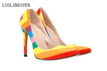 2016 The new rainbow series pointed stiletto heel pumps women's fashion and star top High heels shoes Eur35-42 free shipping