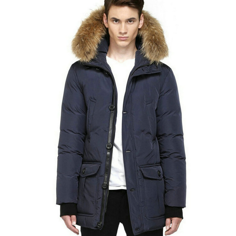 Winter jacket men Real fur hood trim Navy Down parka man's ...
