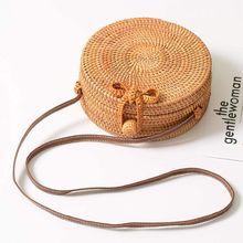 цена Women Shoulder Bag Straw Rattan Woven Round Messenger Handbag Beach Travel Purse Crossbody в интернет-магазинах