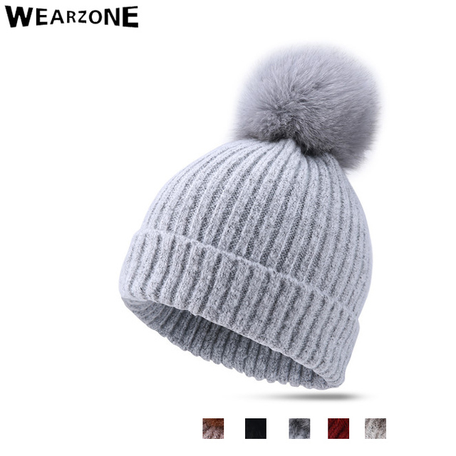 wezrone Women's winter hat knitted wool beanies female Real Mink Fur skullies casual outdoor ski caps thick pom warm hat for men