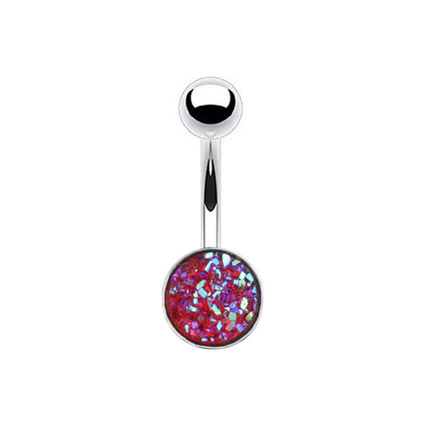 Купить кольцо из хирургической стали для пирсинга пупка 6 цветов
