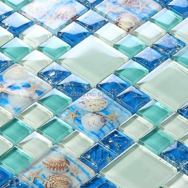 Novi! plava boja kristalno staklo miješan mozaik morske školjke za - Kućni dekor - Foto 4
