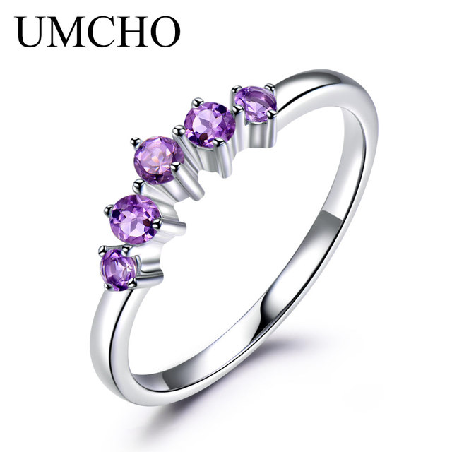 UMCHO Natural Amethyst Gemstone 925 Sterling Silver Ring For Women Wedding Chris