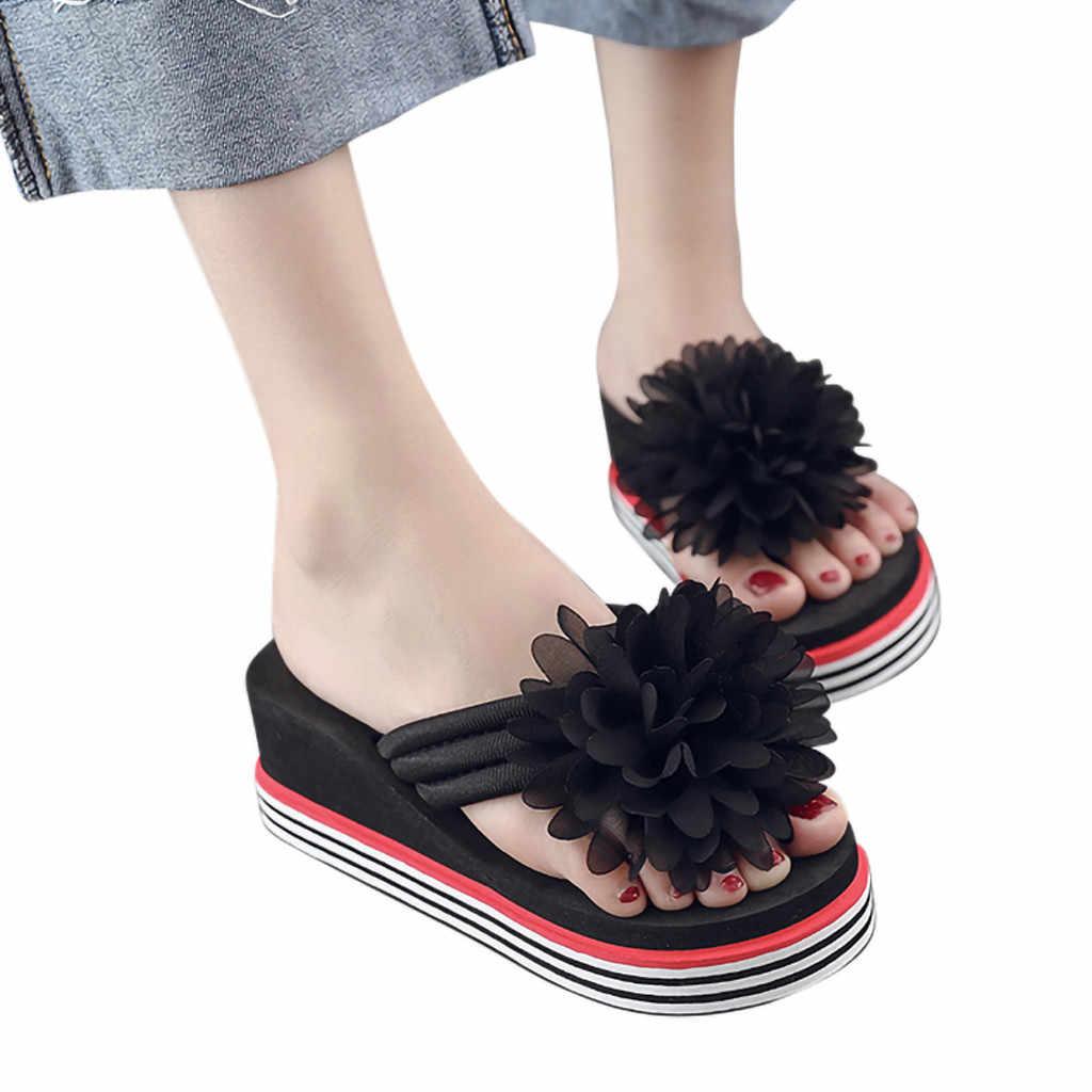 MUQGEW Цветочные Летние шлепает женские классические модные туфли на танкетке шлепанцы лоскутное шлепанцы для отдыха женские тапочки на платформе Высокий каблук