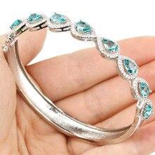Superbe Riche Bleu Aquamarins, blanc CZ SheCrown De Mariage de Femme Argent Bracelet 7.5 pouce 68x9mm