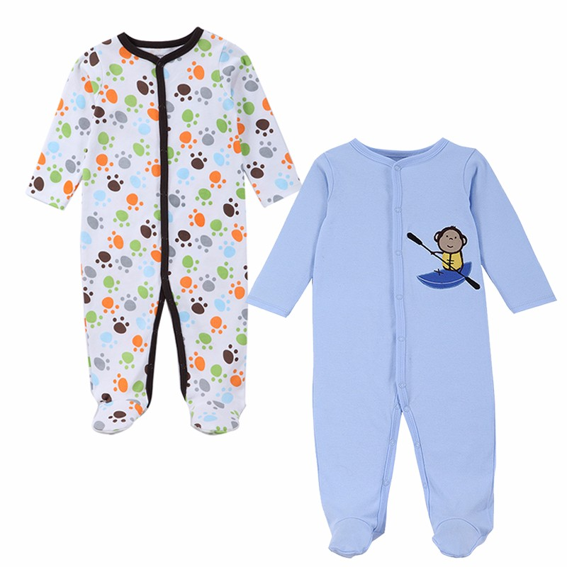 2 Pcslot Baby Clothes Baby Boy Girls Footed Romper Baby Rompers 100% Cotton Sleep & Play Clothes Baby Pajamas Newborn Clothing (3)
