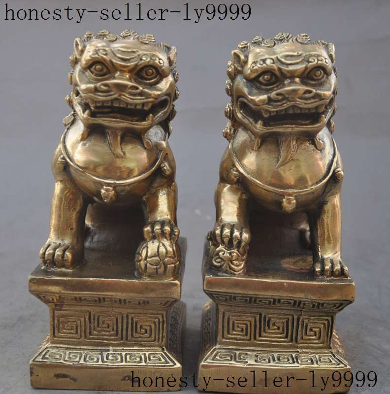 Crafts statue china fengshui old brass Evil spirits Guardian beast Foo Dog Lion statue pair halloween