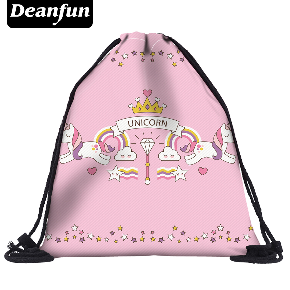 Deanfun Women Unicorn Drawstring Bags 3D Printed Pink Sweetness School Bags For Girls Female  New Fashion 60014