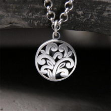 925 Sterling Silver Pendants 14MM Round Carved Hollow Flower Pendant DIY Antique Accessories For Necklace Fine Jewelry