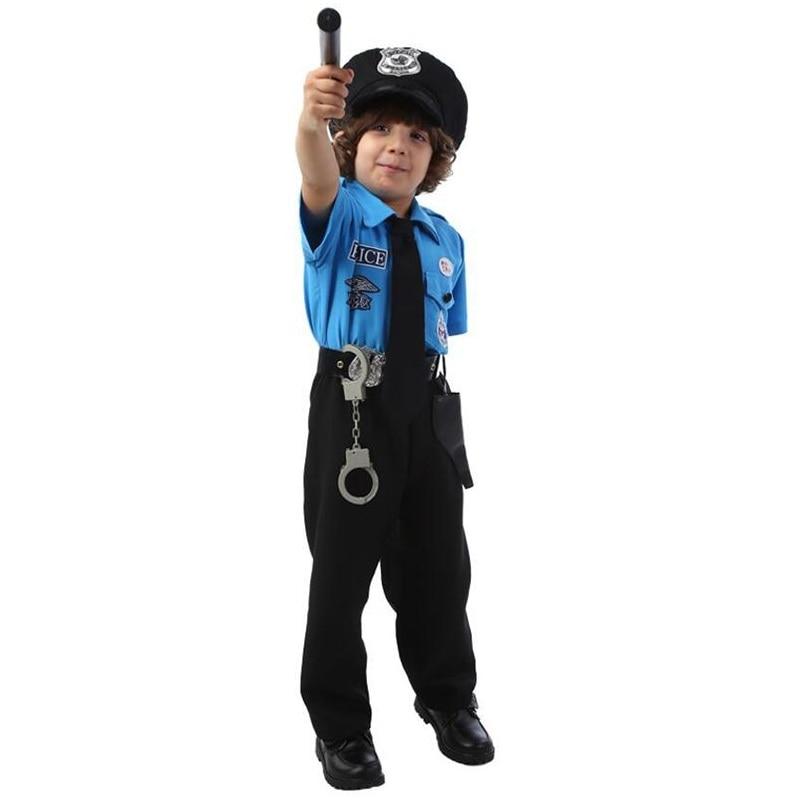 Niños Disfraces de policía de Halloween Día del niño Niños Super policía Azul Cosplay Realizar uniformes de policía con sombrero