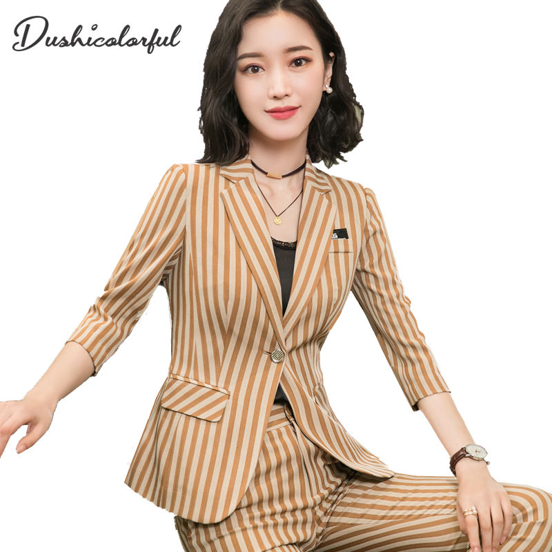 Dushicolorful Women Striped Blazer 2019 Spring Summer Elegant Office Lady Jacket Work Casual Slim Single Buckle Suit Plus Size
