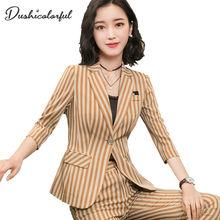 Dushicolorful Women Striped blazer 2019 Spring summer Elegant Office Lady Jacket Work Casual Slim Single buckle suit plus size