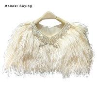Luxury Champagne Ostrich Feather Coats Wedding Fur Boleros 2017 Crystal Bridal Shawl for evening dresses Wedding Accessories B77