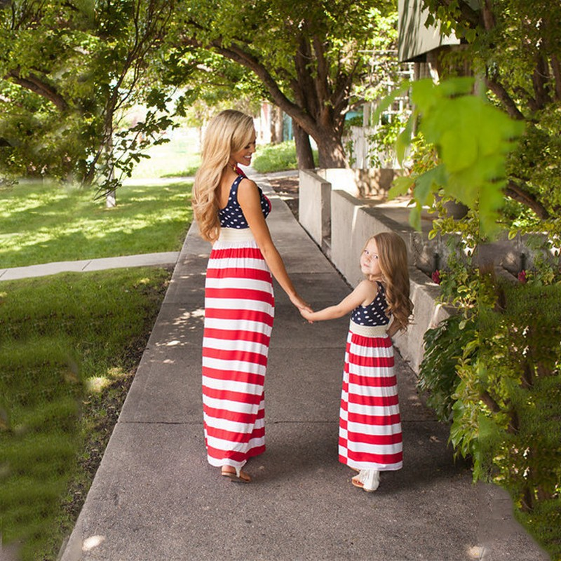 July 4th Family Matching Dress Mother Daughter American Flag Stripe Summer Dresses Mommy And Me Dresses Family Outfits 4th july america flag style stripe pettiskirt white ruffle tank top 2pc set 1 8year mamg1143