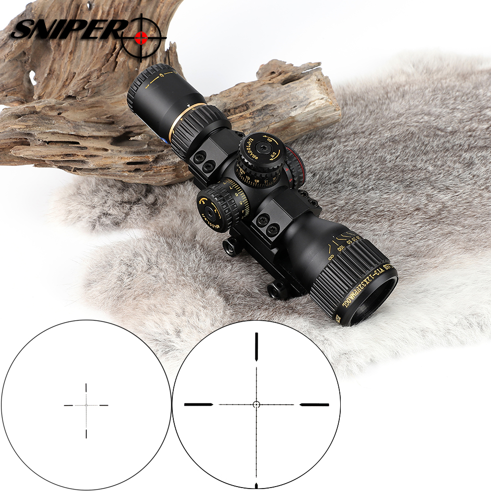 Tactical SNIPER VT 3-12X32 Compact First Focal Plane Hunting Rifle Scope Glass Etched Reticle Optical Sight Riflescopes