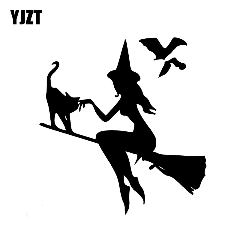 YJZT 13.9CM*14.9CM Witch On Broomstick With Cat & Bats Car Sticker Vinyl Decal Black Silver C10-02420