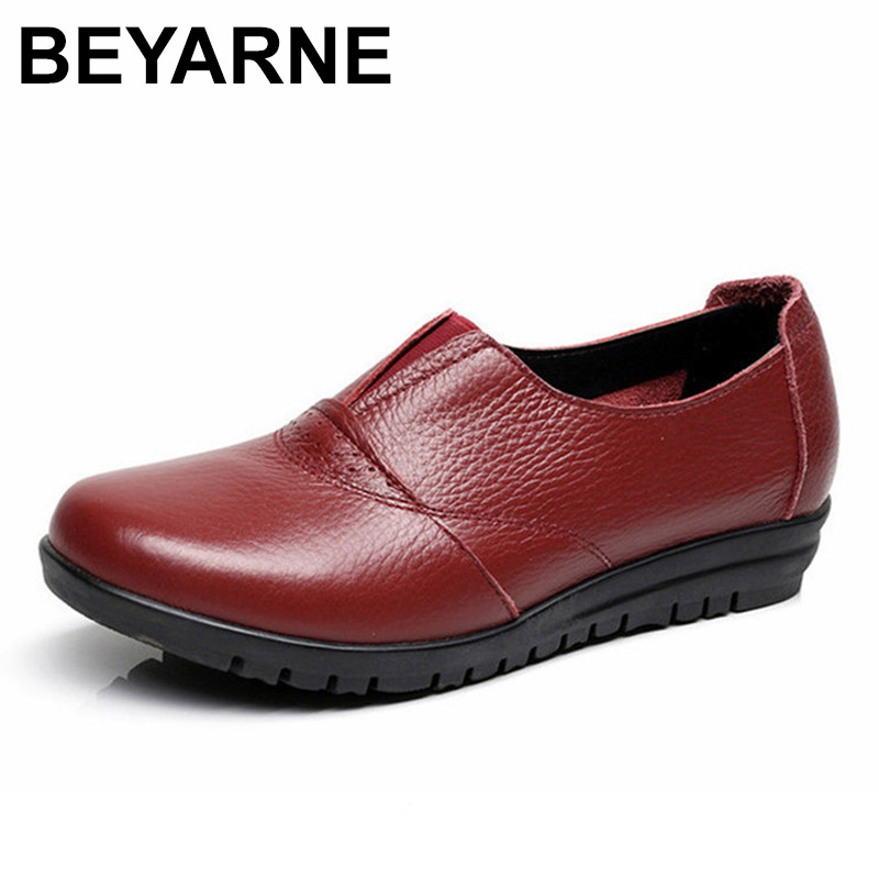 BEYARNE  Genuine Leather Womens Casual Shoes Non Slip Flats Shoes Women Soft Mother Loafers Slip On ShoesBEYARNE  Genuine Leather Womens Casual Shoes Non Slip Flats Shoes Women Soft Mother Loafers Slip On Shoes