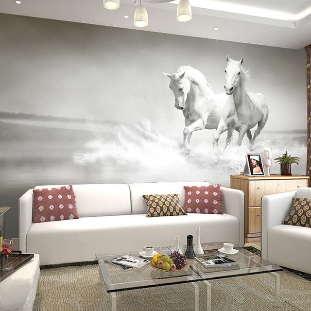 personnalis photo mur papier 3d blanc cheval grande fresque papier peint salon canap murale. Black Bedroom Furniture Sets. Home Design Ideas