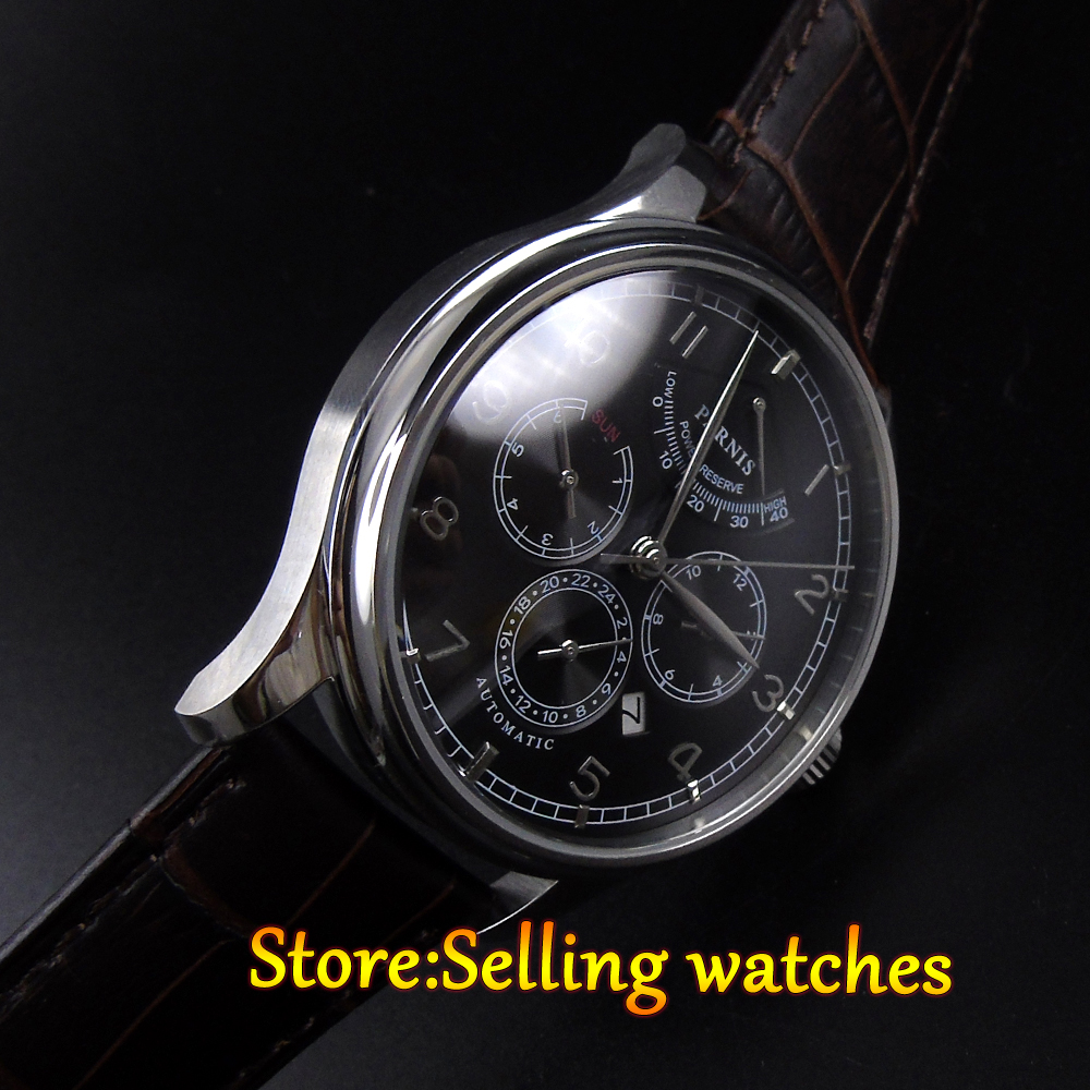 42mm parnis black dial Multifunction Sapphire Glass black leather strap 26 jewels miyota 9100 Automatic mens Watch 42mm parnis black dial multifunction sapphire glass black leather strap 26 jewels miyota 9100 automatic mens watch