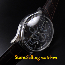 42mm parnis black dial Multifunction Sapphire Glass black leather strap 26 jewels miyota 9100 Automatic mens Watch