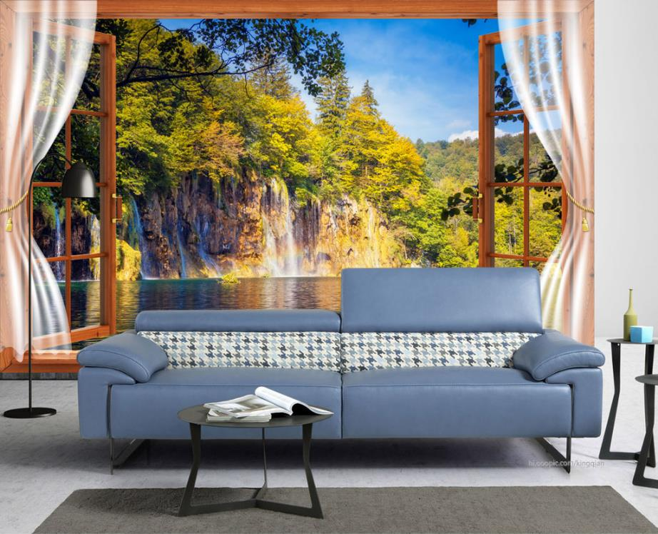 Custom mural wallpaper Lake Stream Waterfall 3d wall papers home decor living room 3d Background wall photo wallpaper|Wallpapers| |  - title=