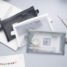 Pen-Box Pencil-Case Transparent Mesh School-Supplies Office Simple Nylon Kalem Kutusu